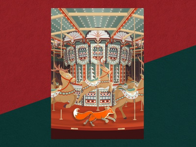 """Quinn & The Broken Carousel"" Christmas Card & Enamel Pin"