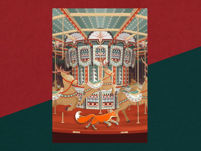 """Quinn & The Broken Carousel"" Christmas Card & Enamel Pin enamel pin reindeer christmas animals christmas card nature color cute fox illustration christmas gift enamel pins"