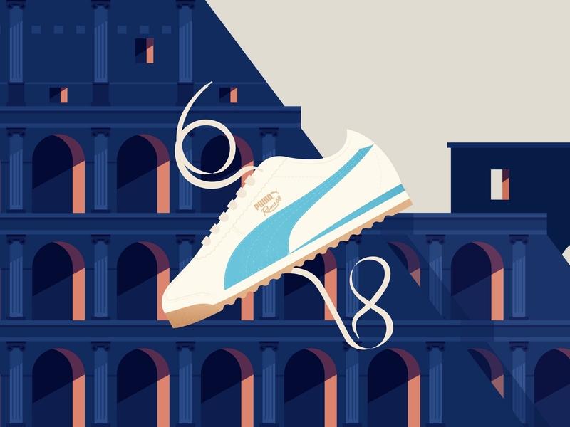 PUMA ROMA 68 Shoe blue retro vintage rome italy travel architecture colosseum illustration fashion shoes sneakers