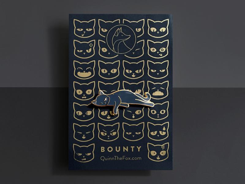 Bounty the Cat Enamel Pin 3 pin pets illustration icon gold gifts enamel pin cute cat black cat badge animals