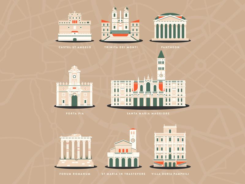 Buildings in Rome Illustrations geometric city landmarks retro vintage holiday travel roma rome italy architecture buildings illustration