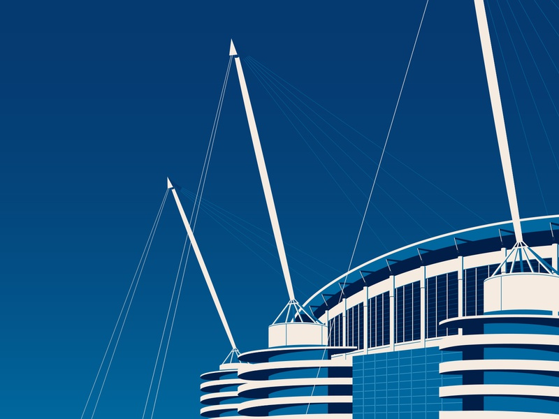 PUMA X Man City: Etihad Stadium structure buildings mcfc football manchester city city etihad stadium illustration architecture manchester man city stadium