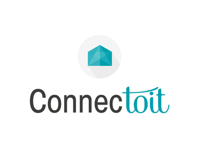 Connectoit real estate logo branding blue immobilier flat design house geometry home