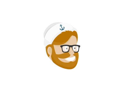 Jack Sailor marine captain nautical red hair smile face anchor character beard hipster sailor