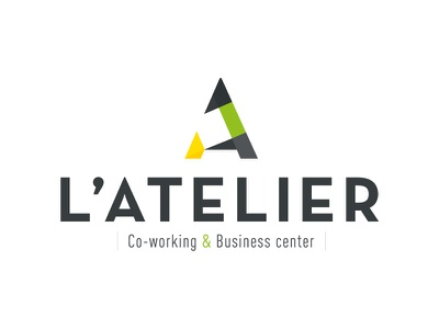 L'Atelier dynamic green yellow letter a business business center co-working atelier logo a