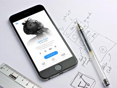 User Profile Screen photo social interface flat design app ux ui
