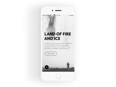 Article Screen black and white photo social interface flat design app ux ui