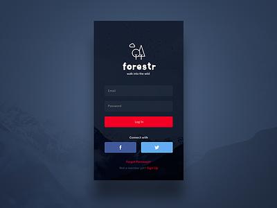 Login Screen interface clean minimal sign in log in design nature ios ux ui app