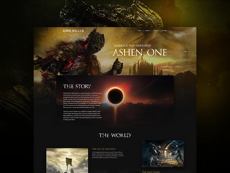 Dark Souls 3 Page souls website design ui dark