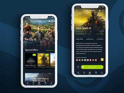 Steam App ios steam dark ux ui interface design app