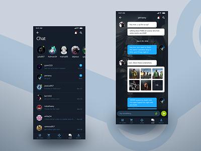 Steam App Chat Shot ios steam dark ux ui interface design app