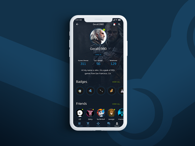 Steam App Profile Shot ios steam dark ux ui interface design app