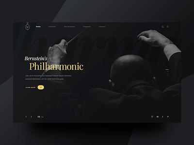 Orchestra website hero dark ui interface design