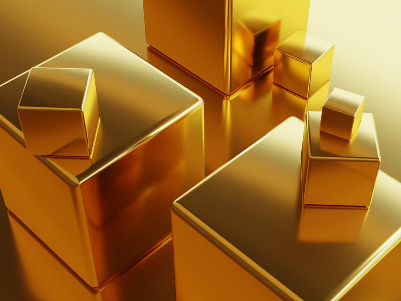 Golden Cubes cube gold blender3d
