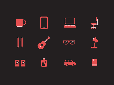 Things I Use coffee guitar chair pens glasses technology flat icon