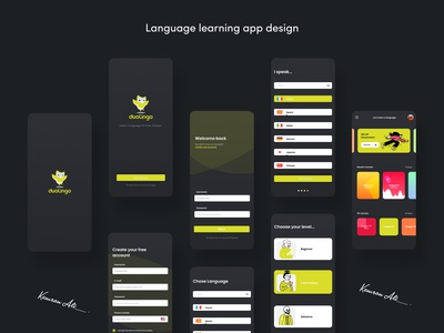 language learning app dark theme 2020 payment app adobexd uiux language learning app kamranaligold kamranali.designer app app design uxdesign ui graphicdesign branding