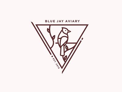 Blue Jay Aviary blue jay branches bird identity badge mark logo