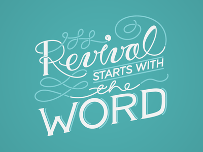 Revival starts with the Word type vector handlettering typography