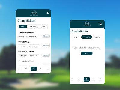 Golf de Joyenval - les compétitions app ux ui design