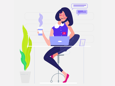 Freelancer flat work female notification plant desk illustration vector coffee office laptop freelancer