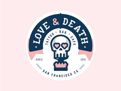 Love and Death Badge hearth skull married tattoo vector icon flat logo badge illustration death love