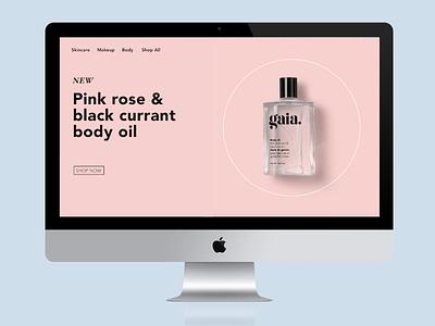 Gaia Website graphic design beauty packaging logo pink design landing page website