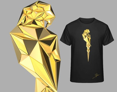 Gold Edition - Low Poly Parrot Design metal parrots parrot low poly gold clothing design clothing clothes black and white lowpoly design animal art