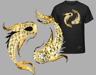 Yin Yang Gold Design ying yang yin-yang yinyang low poly gold clothing design clothing clothes branding black and white lowpoly design animal art