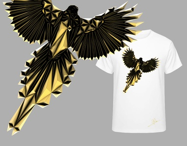 Bird Gold Ediion renders render new metal low poly gold clothing design clothing clothes lowpoly design animal art brand bird magpie