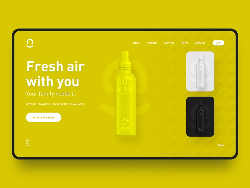 Air Spray UI Design #01 web ux ui concept white black yellow color branding fashion design