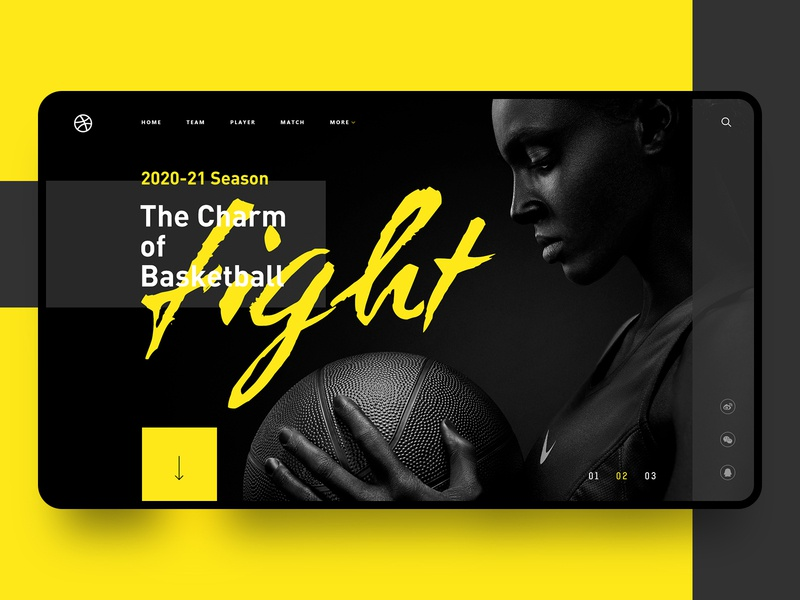 The Charm of Basketball cool web fight ux ui basketball yellow black color branding fashion design