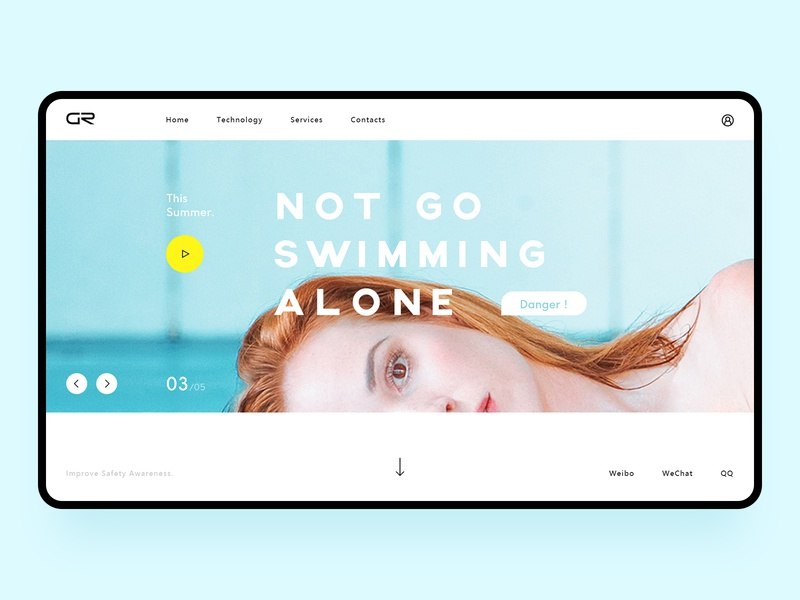 Landing Page with Swimming Concept swimming women eyes yellow web ux ui blue color branding fashion design