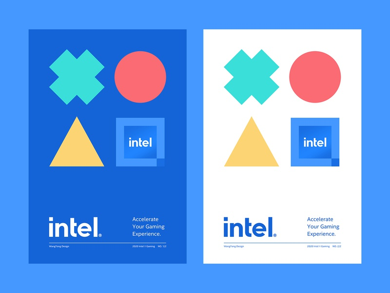 Intel x Gaming Poster Design processor simplicity game keys poster concept experience chip green red yellow blue white logo color branding fashion design