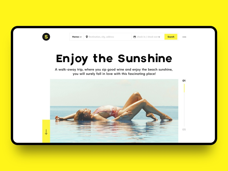 Enjoy the Sunshine travel water enjoy sunshine white web ux ui blue yellow color branding fashion design