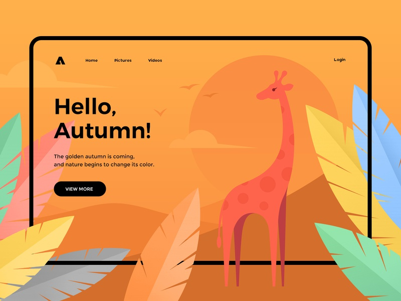 Hello, Autumn! nature sky animal cartoon leaf giraffe autumn web ux ui green blue red yellow color branding fashion illustration design