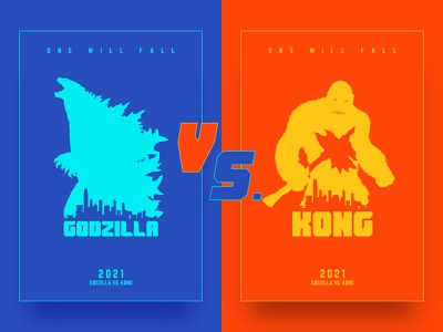 GODZILLA VS. KONG | POSTER DESIGN #01 flat style titan monster king kong godzilla orange blue color illustration poster