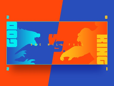 GODZILLA VS. KONG | POSTER DESIGN #02 titan monster king kong godzilla flat style poster illustration orange blue color