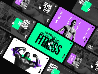 Fitness Web Design run sport fitness violet white black green color branding fashion design web ux ui