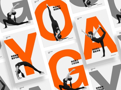 Yoga Club Poster typeface letter poster pose girl yoga orange white black color branding fashion design