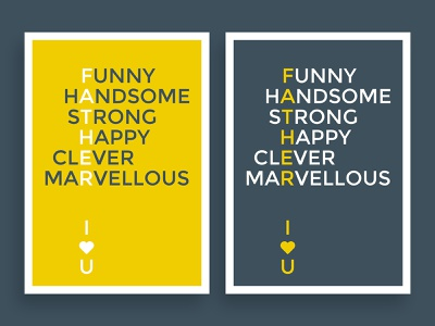 Father, I Love You. handsome clever strong funny love heart happy typeface holiday festival father dad poster yellow color branding fashion design
