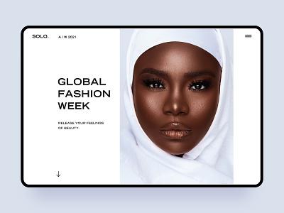 Fashion Website cool homepage head beauty women people white web ux ui branding fashion design