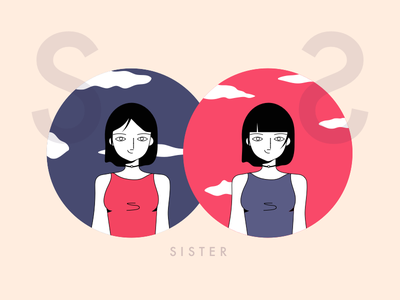 sister zodiac waves sisters sister retro purple art line illustration illustrate draw