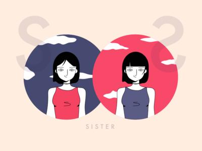 sister zodiac waves sisters sister retro purple art line illustration illustrate draw