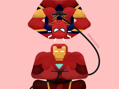 Iron man and Spider man playing game