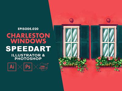 Charleston Window Speedart [Adobe Illustrator & Photoshop] speedart tutorial flowers texture photoshop windows charleston flat design the creative pain illustrator illustration vector