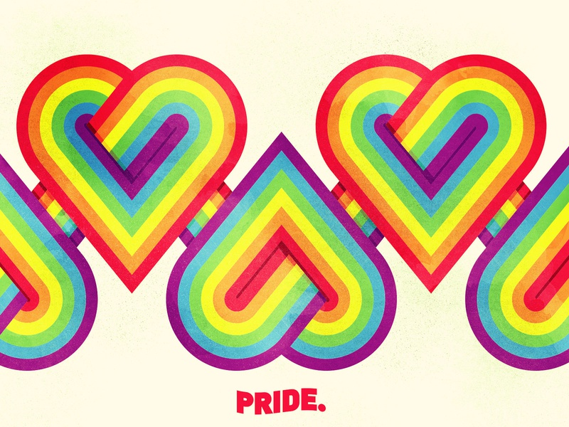 Pride lgbtq gaypride hearts lines icons typography rainbow pride pridemonth branding illustrator illustration vector
