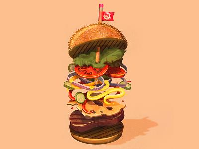 The Creative Hunger summer wacom design adobe burger branding the creative pain illustrator illustration vector