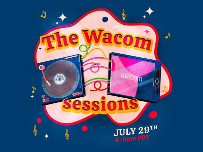 The Wacom Sessions dj drawing live wacom cintiq wacom icons typography branding the creative pain illustrator illustration vector