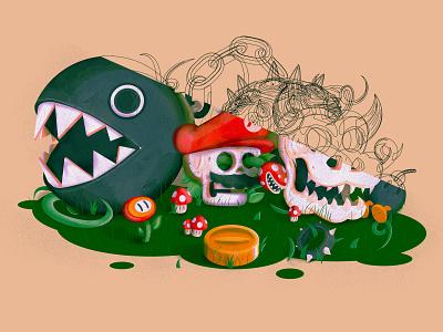 Mario world skull - outlines videogames nintendo mushroom chomp bowser mario outlines lines flat illustrator illustration vector
