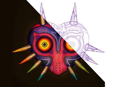 Zelda Majoras mask mask link video games nintendo majoras mask zelda illustrator illustration vector